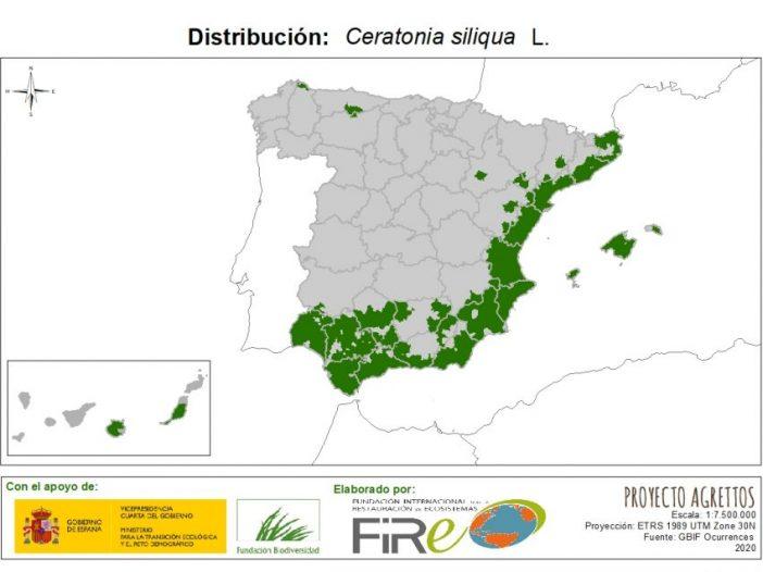 Mapa de Distribución de Ceratonia Siliqua L.Malus sylvestris