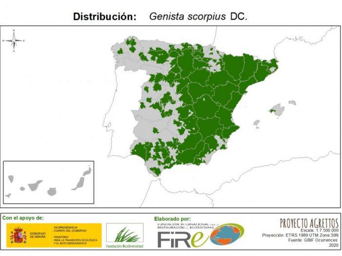 Mapa de distribución de Genista scorpius (L.) DC