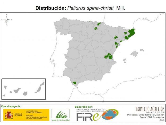 Mapa de distribución Paliurus spina-christi Mill.