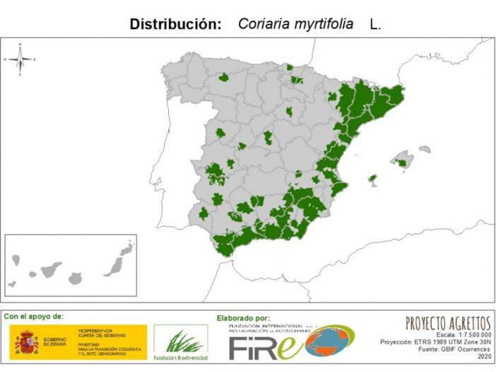 Mapa de distribución Coriaria myrtifolia